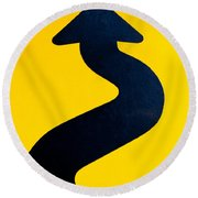 Wavy Arrow Concept Of Winding Road To Success Round Beach Towel