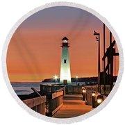 Wawatam Lighthouse Sunrise Round Beach Towel