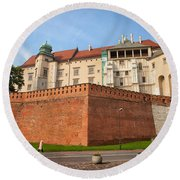 Wawel Royal Castle In Krakow Round Beach Towel