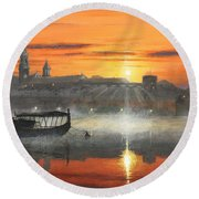 Wawel Sunrise Krakow Round Beach Towel