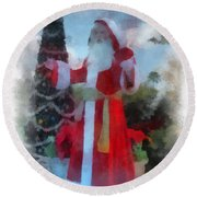 Wdw Santa Photo Art Round Beach Towel