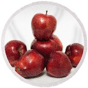 We Are Family - 6 Red Apples - Fresh Fruit - An Apple A Day - Orchard Round Beach Towel