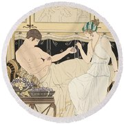 We Gorged With Grapes And Figs Least Round Beach Towel by Joseph Kuhn-Regnier