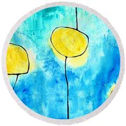 We Make A Family - Abstract Art By Sharon Cummings Round Beach Towel