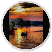 We Sail At Sunrise Round Beach Towel