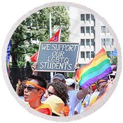 We Support Our Lgbtq Students Round Beach Towel