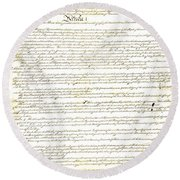 We The People Constitution Page 1 Round Beach Towel