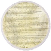 We The People Constitution Page 2 Round Beach Towel