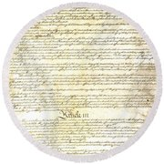 We The People Constitution Page 3 Round Beach Towel