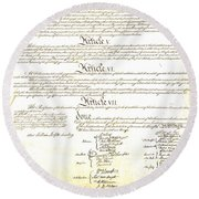 We The People Constitution Page 4 Round Beach Towel