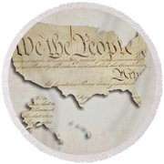 We The People - Us Constitution Map Round Beach Towel