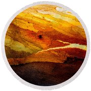Weathered Wood Landscape Round Beach Towel