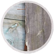 Weathered Wooden Boards Round Beach Towel