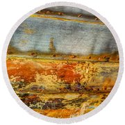 Weathered Wooden Boat - Abstract Round Beach Towel