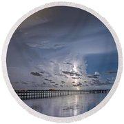 Weaver Pier Illuminated Round Beach Towel