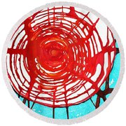 Web Of Life Original Painting Round Beach Towel
