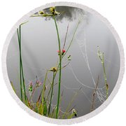Web Of Pearls Round Beach Towel