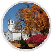 Webster Church On A Fall Day Round Beach Towel