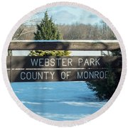 Webster Park Sign Round Beach Towel