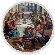 Wedding At Cana Round Beach Towel