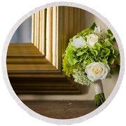 Wedding Bouquet And Mirror Round Beach Towel