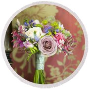 Wedding Bouquet And Vintage Wallpaper Round Beach Towel