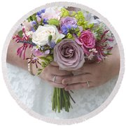 Wedding Bouquet Round Beach Towel