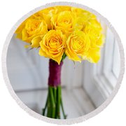 Wedding Bouquet Of Yellow Roses Round Beach Towel