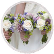 Wedding Bouquets Held By Bridesmaids Round Beach Towel