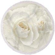 Wedding Day White Roses Round Beach Towel