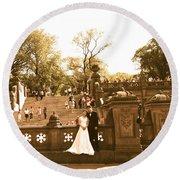 Wedding In Central Park Round Beach Towel