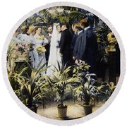 Wedding Party, 1897 Round Beach Towel