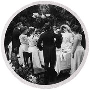 Wedding Party, 1904 Round Beach Towel