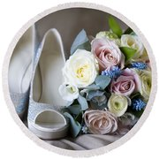 Wedding Shoes And Flowers Round Beach Towel