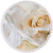 Wedding White Flowers Round Beach Towel