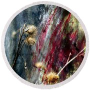 Weed Abstract Blend 1 Round Beach Towel