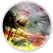Weed Abstract Blend 2 Round Beach Towel