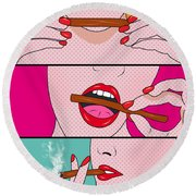 Weed Lady  Round Beach Towel