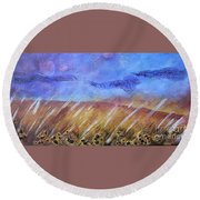 Weeds Among The Wheat Round Beach Towel