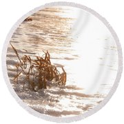 Weeds On Ice Round Beach Towel