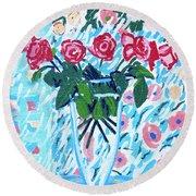 Weekend Roses Round Beach Towel