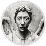 Weeping Angel Don't Blink Doctor Who Fan Art Round Beach Towel