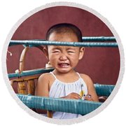 Weeping Baby In His Buggy Round Beach Towel