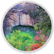 Weeping Rock At Zion National Park Round Beach Towel