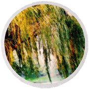 Weeping Willow Tree Painterly Monet Impressionist Dreams Round Beach Towel