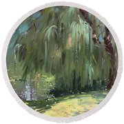 Weeping Willow Tree Round Beach Towel