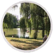 Weeping Willows In Central Park  Round Beach Towel