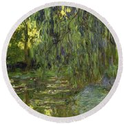 Weeping Willows The Waterlily Pond At Giverny Round Beach Towel by Claude Monet