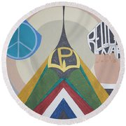 Weighing Peace Round Beach Towel