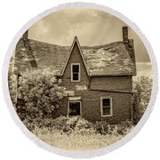 Weight Of The World - Antique Sepia Round Beach Towel
